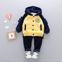 Cute Baby Boys Winter Clothes 3PCS Suit For Toddler Boy Girl Cartoon Smile Printed Kids Hooded Velvet Set Clothing 1 2 3 4 Years