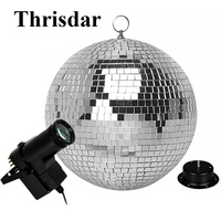 Thrisdar Dia25CM 30CM Disco Mirror Ball Complete Party Kit with 10W RGB Pinspots Stage Lamps and Motor Party Professional Light