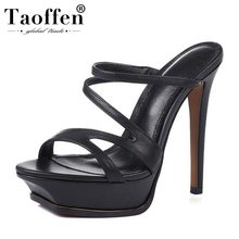 TAOFFEN Genuine Leather Super High Heel Party Sandals Platform Gladiato