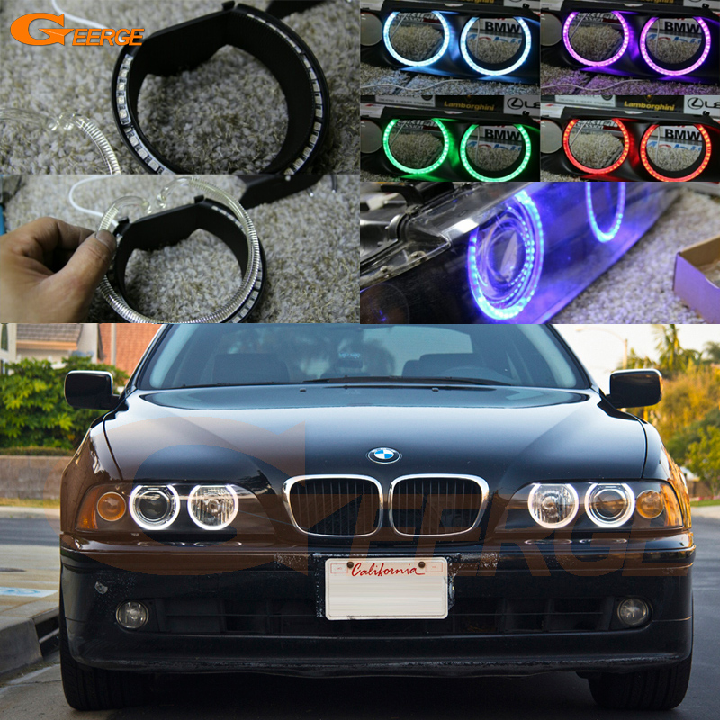 For BMW E39 540i 530i 528i 525i 523i M5 2000-2003 post-facelift headlight Multi-Color Ultra bright RGB LED Angel Eyes kit 2pcs right left fog light lamp for b mw e39 5 series 528i 540i 535i 1997 2000 e36 z3 2001 63178360575 63178360576