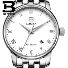 Switzerland watches men luxury brand18K gold Wristwatches BINGER business Mechanical Wristwatches full stainless steel B5005A 4