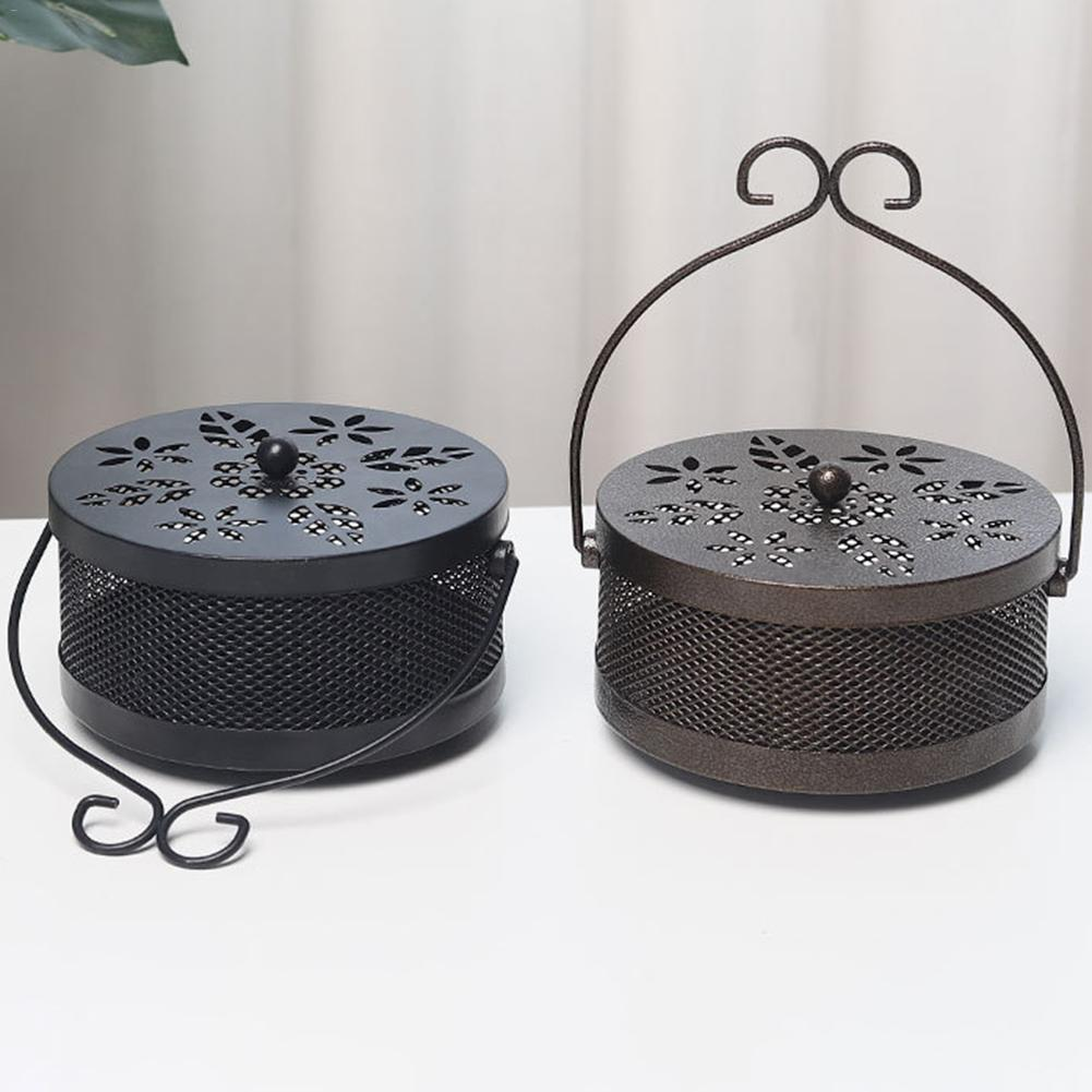 Home Decoration Supplies Craft Innovative Portable Iron Mosquito Coil Holder Case Hollow Anti Scalding Garden Mosquito Coil Rack(China)