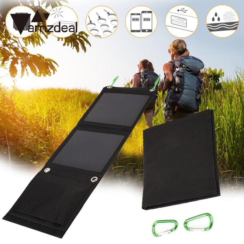 amzdeal New 8W Flexible Folding Monocrystalline Sunpower Solar Panel Battery Charger Travelling Outdoor Powerbank DIY Solar Cell