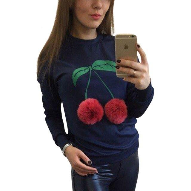 Sweatshirt Plush Ball Long Sleeve Top Women Hoodies Cherry Printed Casual Moletom Feminina Plus Size Women Clothing LJ5927T