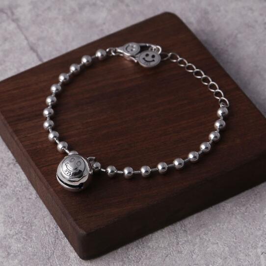 Handmade 100% 925 Silver Beaded Bracelet Pure Silver Happy Face Bell Beaded Bracelet Sterling Lady Bracelet Jewelry Gift plus pearl beaded bell sleeve blouse