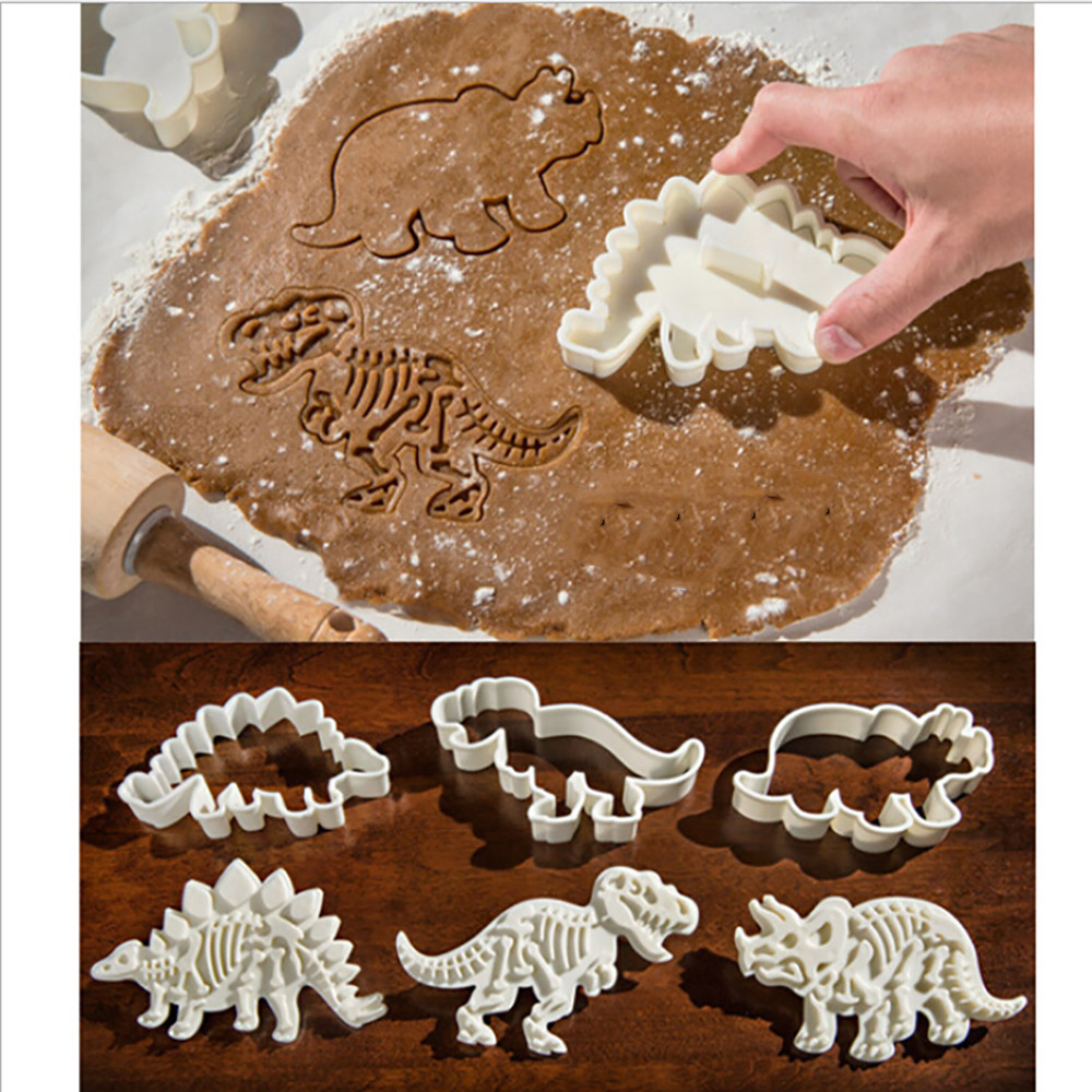 Kitchen Funny Cake Tool 3 PCS set  Dinosaur Shape Cookie Cutter Mold Biscuit 3D Baking Mold Fondant Cake Decorating tools