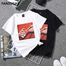 48053ce118 harajuku Vogue Casual Funny Women's T-shirt short sleeve cigarette print  Slim Korean Style Oversized