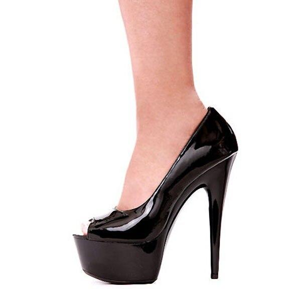 Sexy noir Ultra mince dame talons hauts avec chaussures à plate-forme 15 cm dame danseuse chaussures Sexy Peep Toe Party chaussures de danse SJ0021