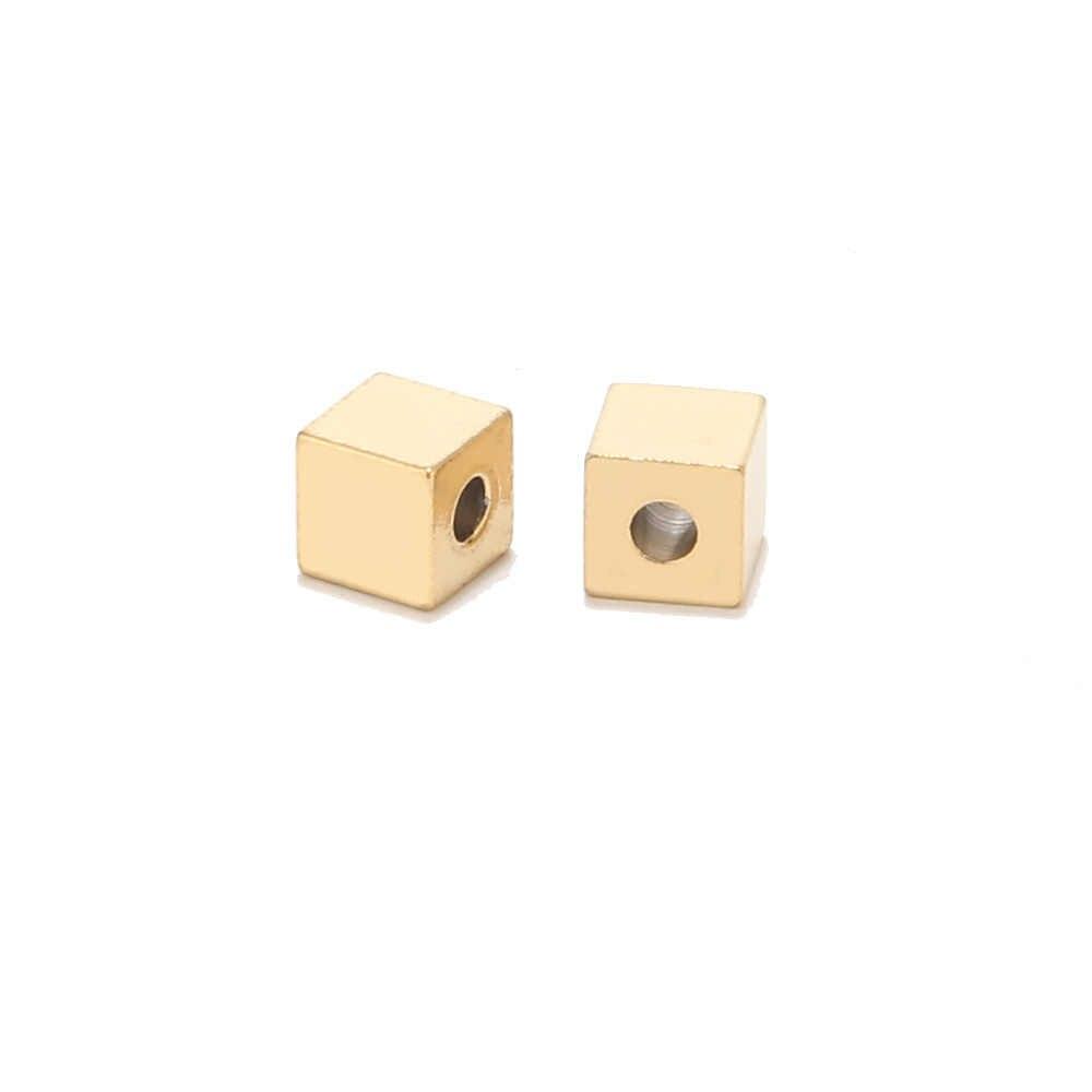 Gold ton Loch 2mm Edelstahl Cube Spacer Perlen Platz Lose Perlen für DIY Armband Schmuck Machen