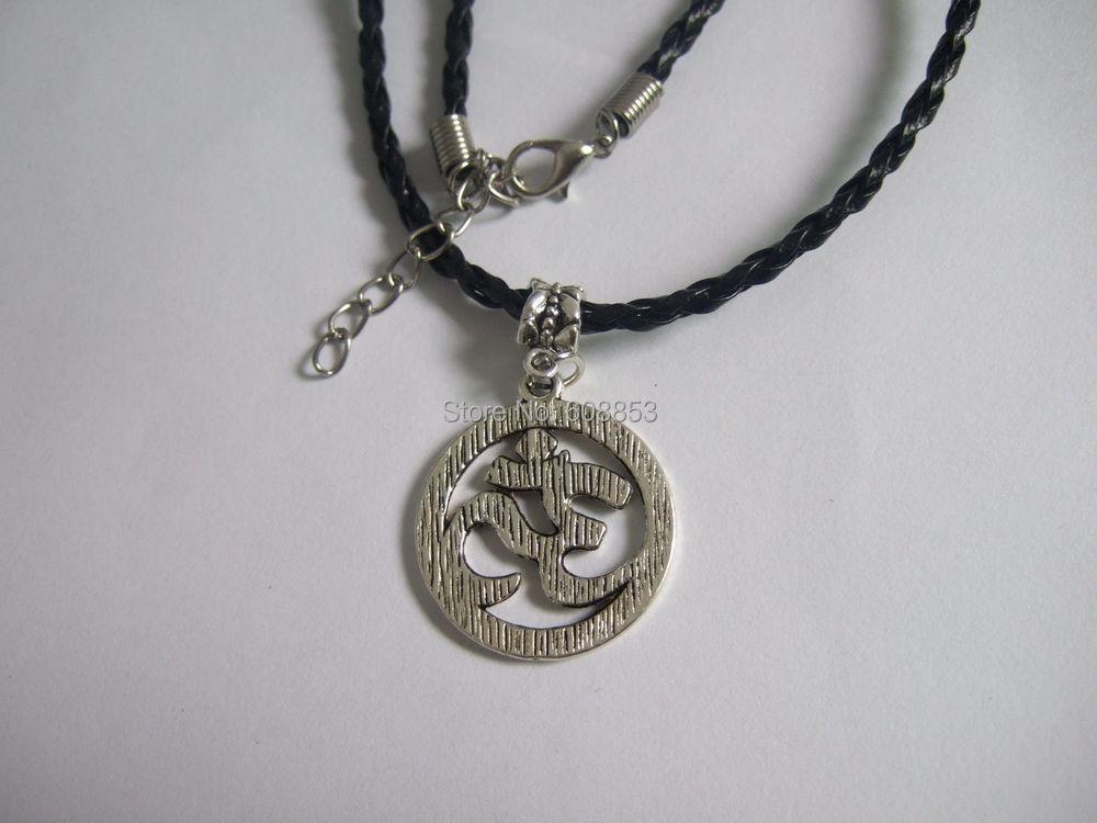 Wax Cord/PU Cord/Leather Cord OM OHM AUM YOGA HINDI OMKARA SYMBOL Charm Necklace 18