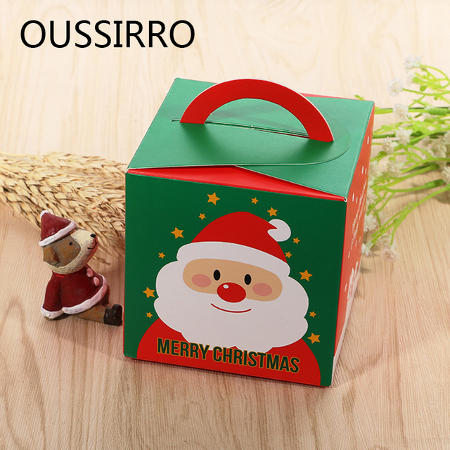 1pcs cartoon diy portable christmas apple cookies candy gifts holders box paper packaging box kids party