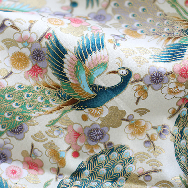 45x110cm DIY Japan Style Cotton Fabric for Table Cloth Door Curtains Beautiful Bronzed Peacock Prints Cloth Handbag Fabric in Fabric from Home Garden