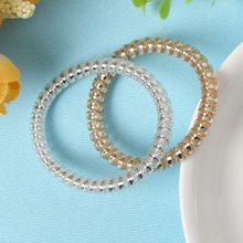1PCS Hot Sale Gold/Silver Elastic Rubber Phone Line Hair Rope P onytail Holder