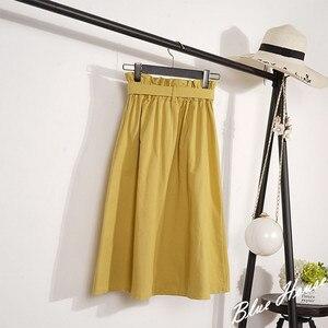 Image 2 - Crriflz saia midi feminina cintura alta, na altura do joelho com botões e pregas escolares verão outono elegante coreana