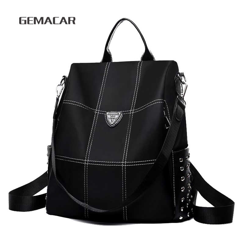 161090800f Women Anti-theft Backpack Waterproof Rucksack Purse Girls Casual Female  Black Backpacks College School Bags