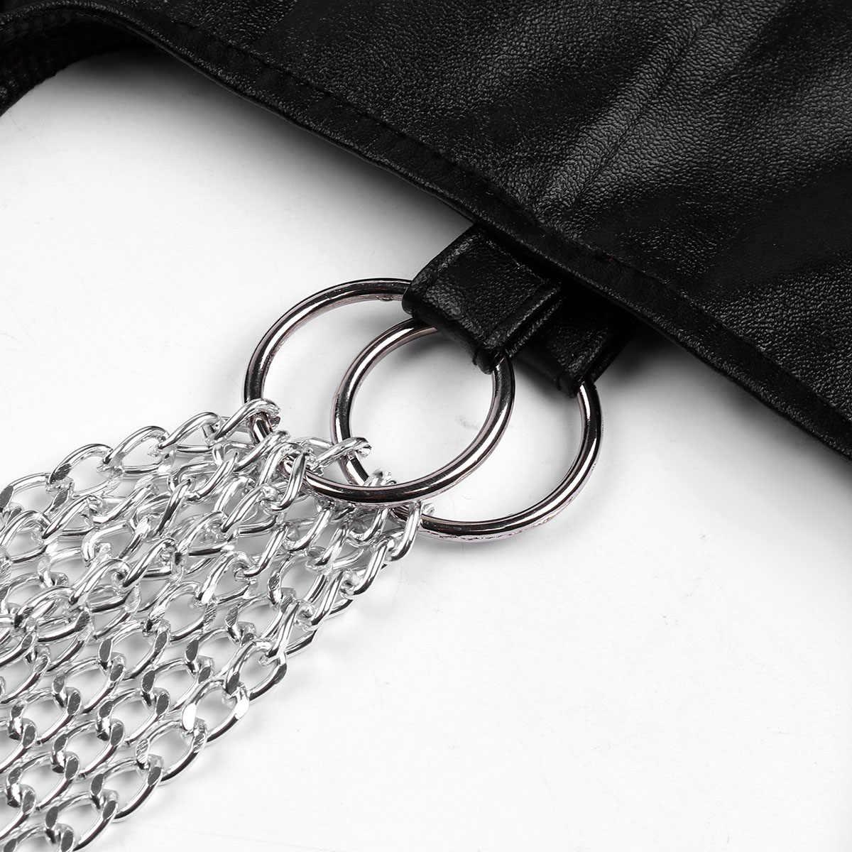 Mujeres Sexy PU cuero Bralette sujetador Crop Top ancho correas de hombro con cadena de borla de Metal y Clips chaleco Crop tops Clubwear