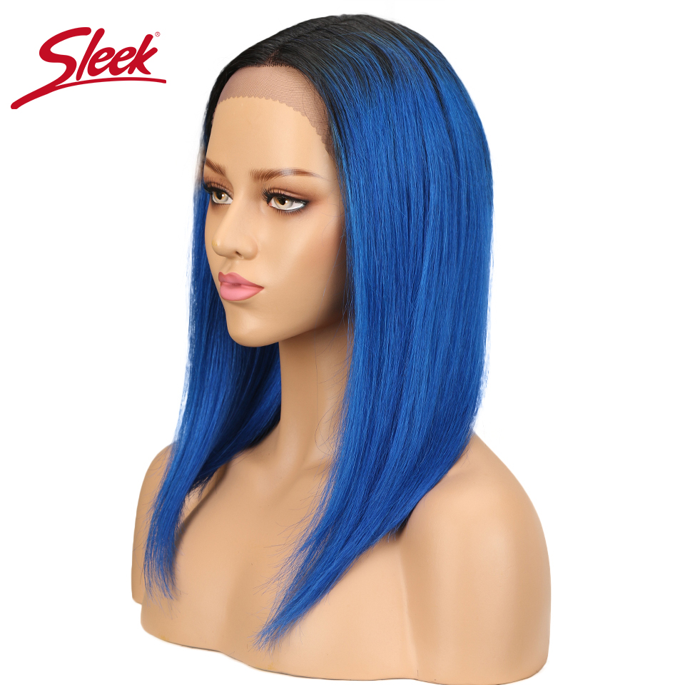 Intellective Sleek Remy Straight Hair Wig Lace Front Human Hair Wigs Brazilian Human Hair Lace Wigs For Black Women T1b/blue Color Free Ship High Quality