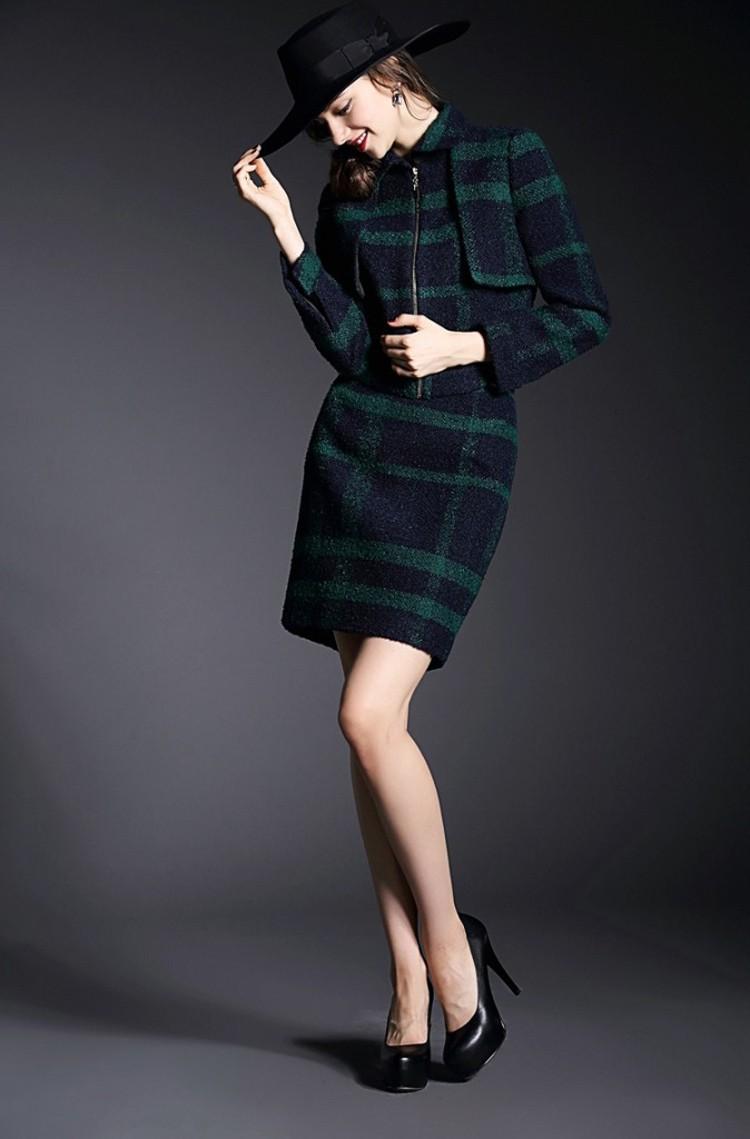 Runway Style High Grade Grid Pattern Woolen Green Skirt Suits Autumn Winter 2015 (16)