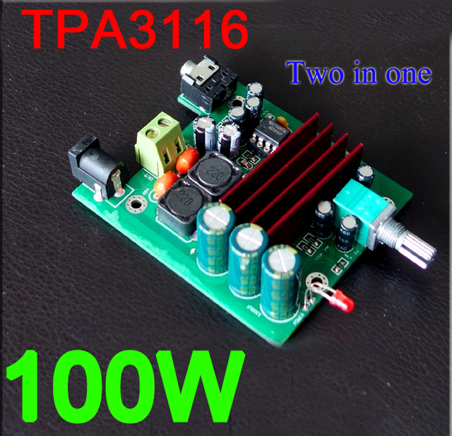 US $8 45 6% OFF|dc 12v 24v TPA3116 D2 100W mono digital amplifier board  100W subwoofer amp TPA3116D2 For CAR speaker-in Integrated Circuits from