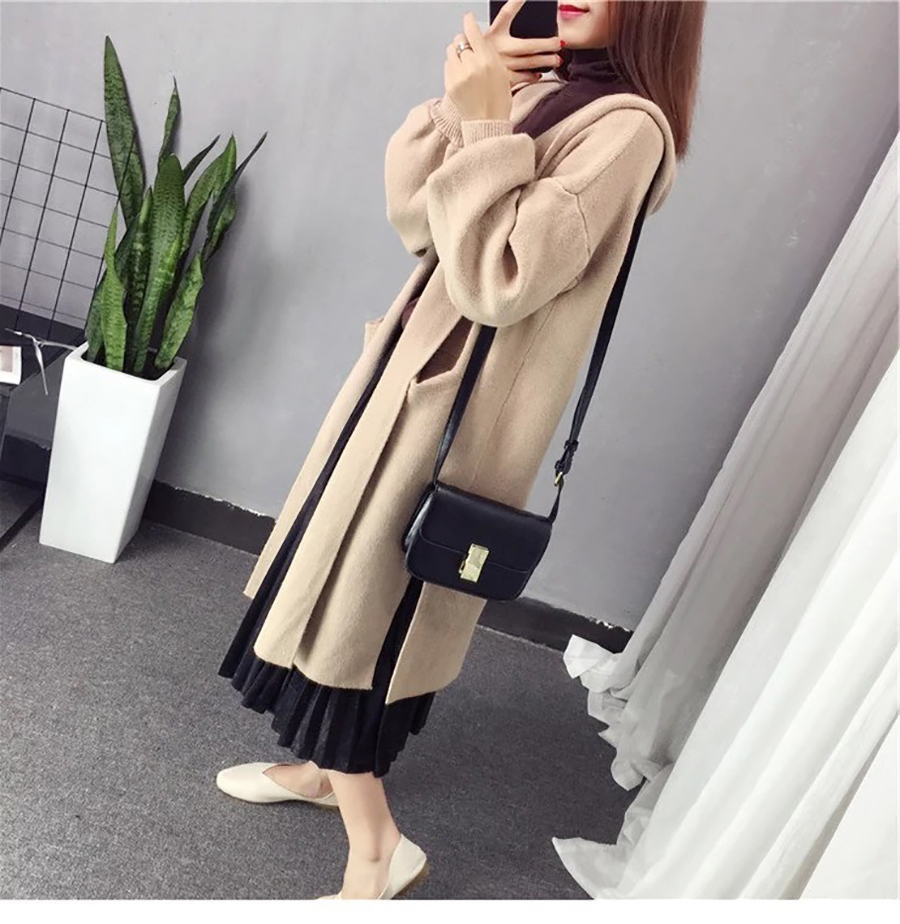 Autumn Winter Women Long Cardigans Hooded Sweaters Casual Knitted Outwear Puff Sleeves for Fashion Girls Female Warm Clothing (9)