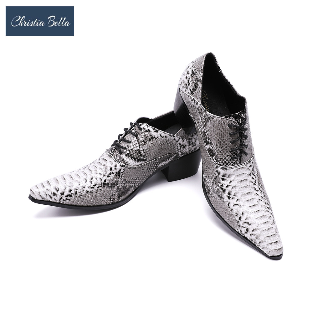 Christia Bella Serpentine Printing Leather Men Oxfords Lace-Up Business High Heel Formal Shoes Wedding Shoes Men Dress Shoes планшет apple ipad 9 7 wi fi cellular 128gb space gray