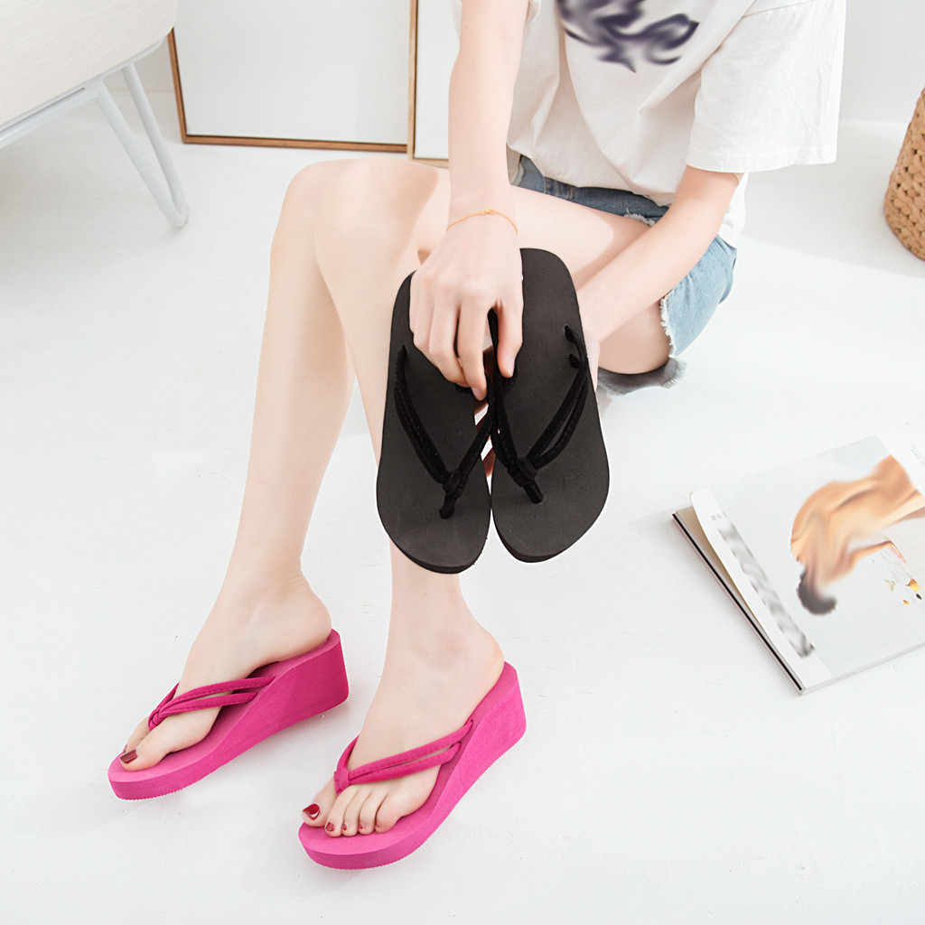 Women's Slippers Summer Ladies Solid Color Non-Slip Feet Flip-Flops High-Heeled Wedges Soft Beach Sandals Female Slippers M50#