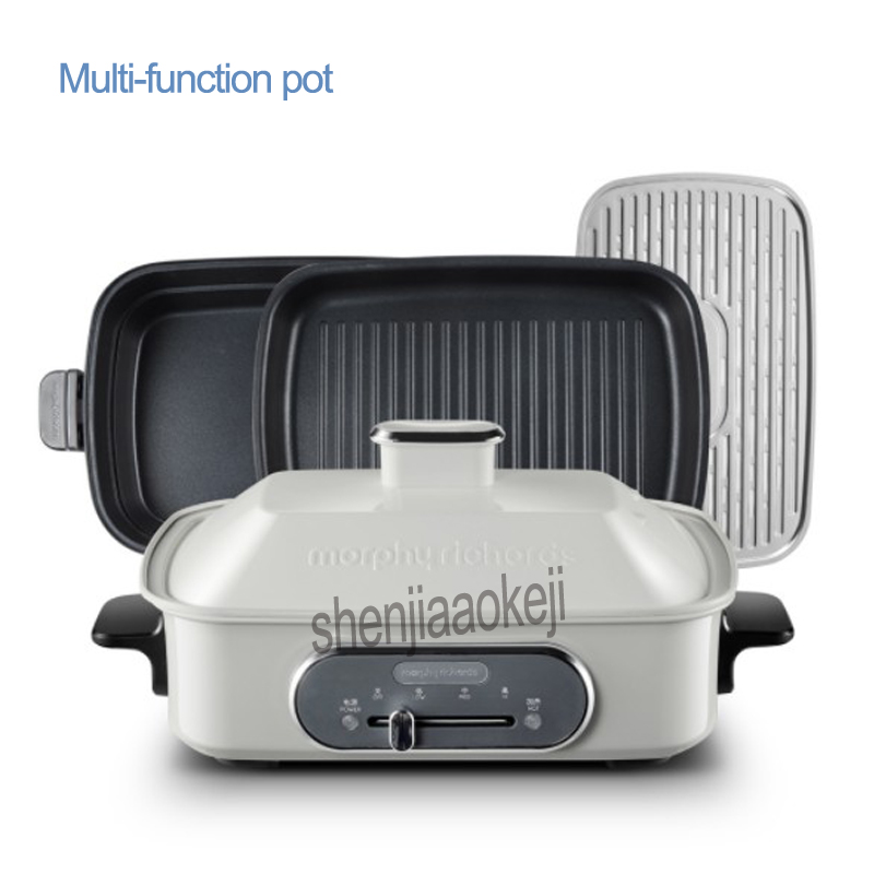 1pc MR9088 Multi-function Pot  Electric Hot Pot Barbecue Stove Household Frying Pan 2.5L Capacity  220v 1400w