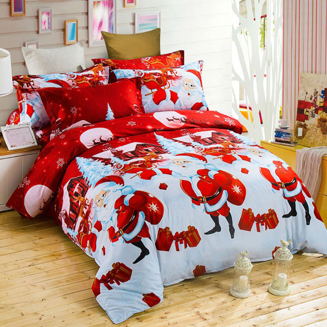 Attractive Christmas Bed Linen Sets Part - 8: Christmas Bed Linen Christmas Gift Present Bedding Sets Santa Claus Bed  Linen Bedspreads Fabric Duvet Cover