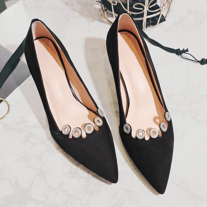 Fashion Brand Shoes Shallow High Heels Party Kid Suede Stiletto Women Pumps Wedding Pointed Toe Crystal Slip on Runway Shoe 28 2017 new fashion brand spring shoes large size crystal pointed toe kid suede thick heel women pumps party sweet office lady shoe