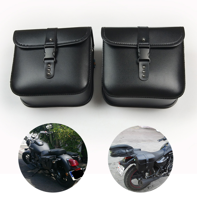 Motorcycle Brown Side Saddle tool Bag For Harley Sportster XL883 1200 Cafe Racer