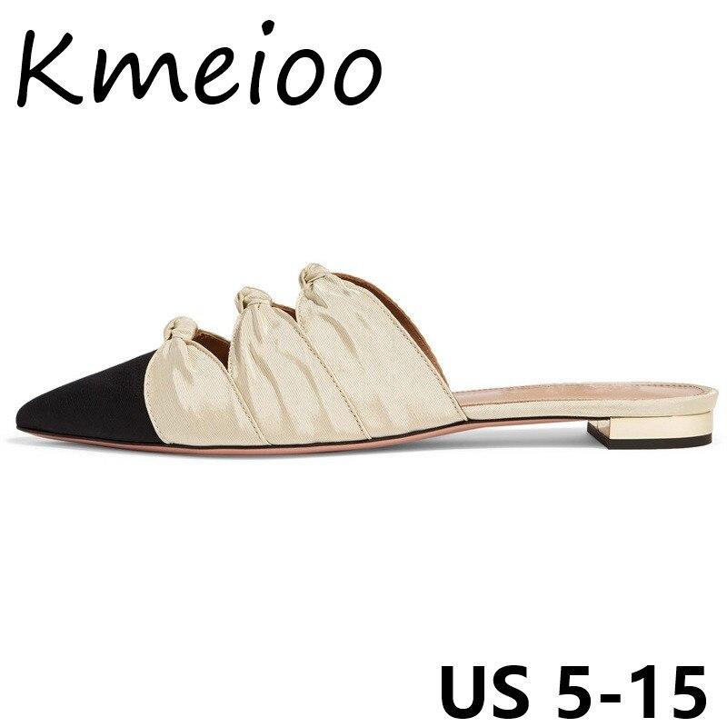 Diapositives Sandales La 5 Femme 15 Plates Kmeioo Pantoufles Papillon De Taille 2018 Nous glitter Plat Noeud Pointu Bout Plus White Mode Chaussures Pour Dames TwP1HP
