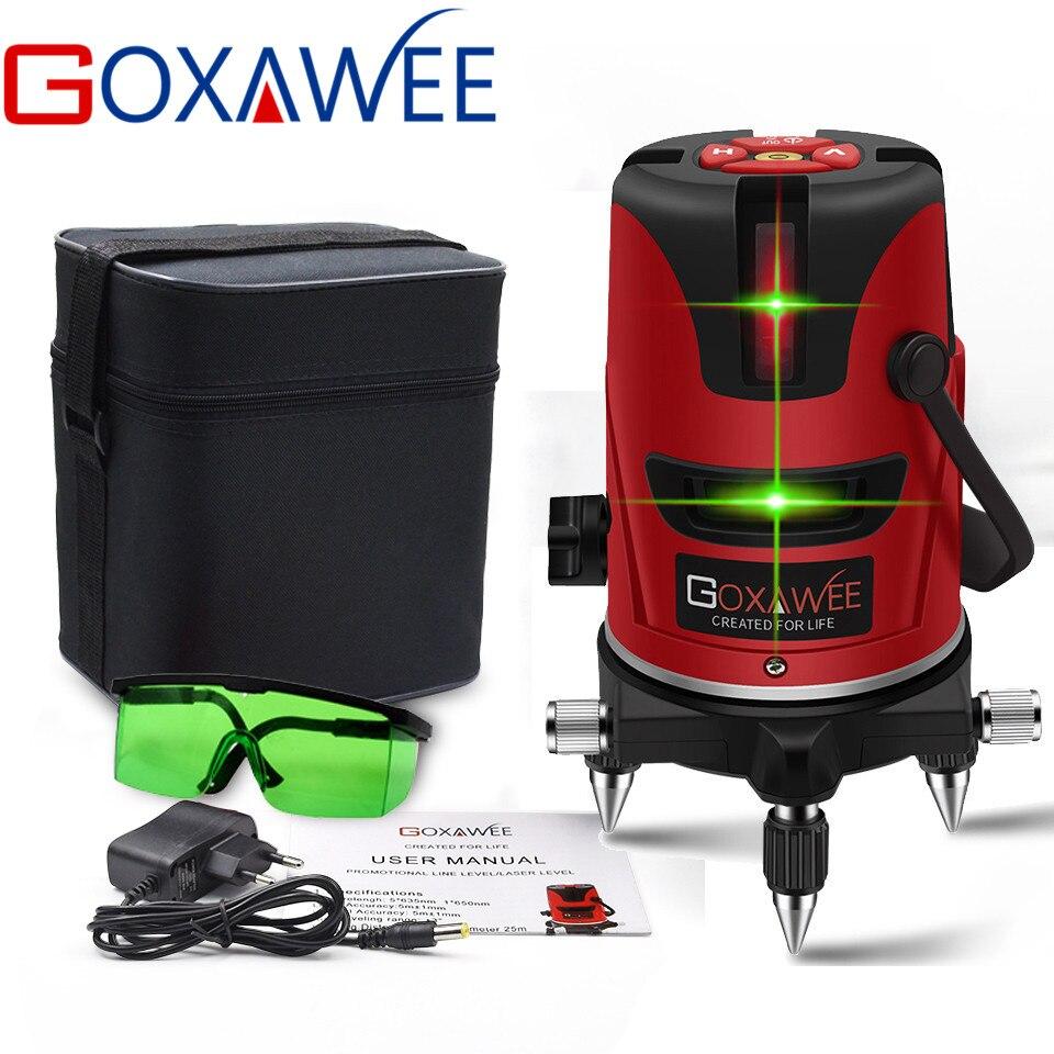 GOXAWEE Vert laser niveau 360 degrés Automatique Nivellement Vertical Horizontal le Mode En Plein Air outil de construction Peut Utiliser Le Récepteur
