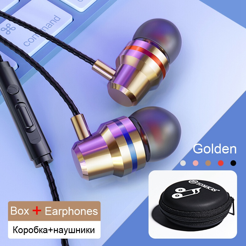 TOMKAS Wired Earbuds Headphones 3.5mm In Ear Earphone Earpiece With Mic Stereo Headset 5 Color For Samsung Xiaomi Phone Computer 24