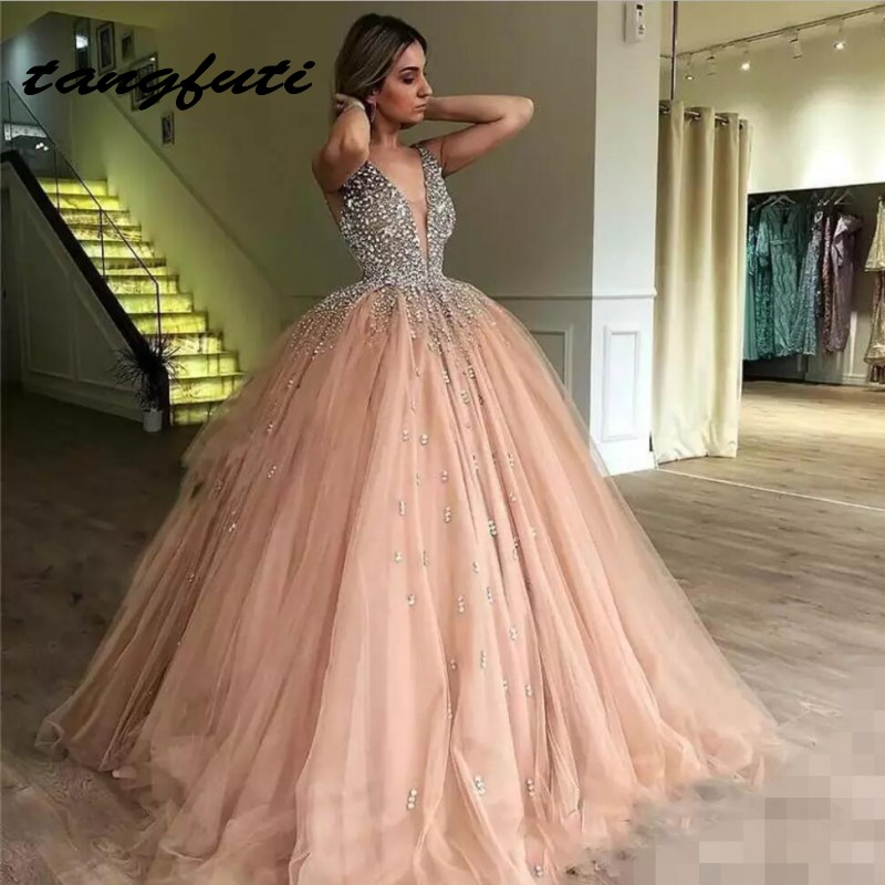 Luxury Crystals Ball Gown Quinceanera Dresses V Neck Sequin Sweet 16 Dress Tulle Skirt Long Teen