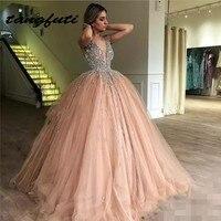 Роскошные Кристаллы бальное платье Пышное Платье с v образным вырезом блесток сладкий 16 платье Тюлевая юбка длинные девочек подростков Пра