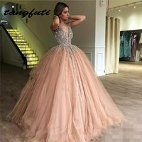 Luxury Crystals Ball Gown Quinceanera Dresses V Neck Sequin Sweet 16 Dress Tulle Skirt Long Teen Girls Pageant Dress 2018