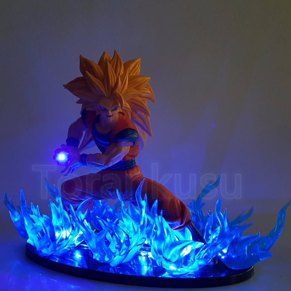 Dragon Ball Z Action Figure Son Goku FES Super Saiyan 3 With Blue Fire Led Light DIY Display Toy Dragon Ball Super Goku DIY184 new hot 21cm dragon ball super saiyan 3 son goku kakarotto action figure toys doll collection christmas gift with box sy889