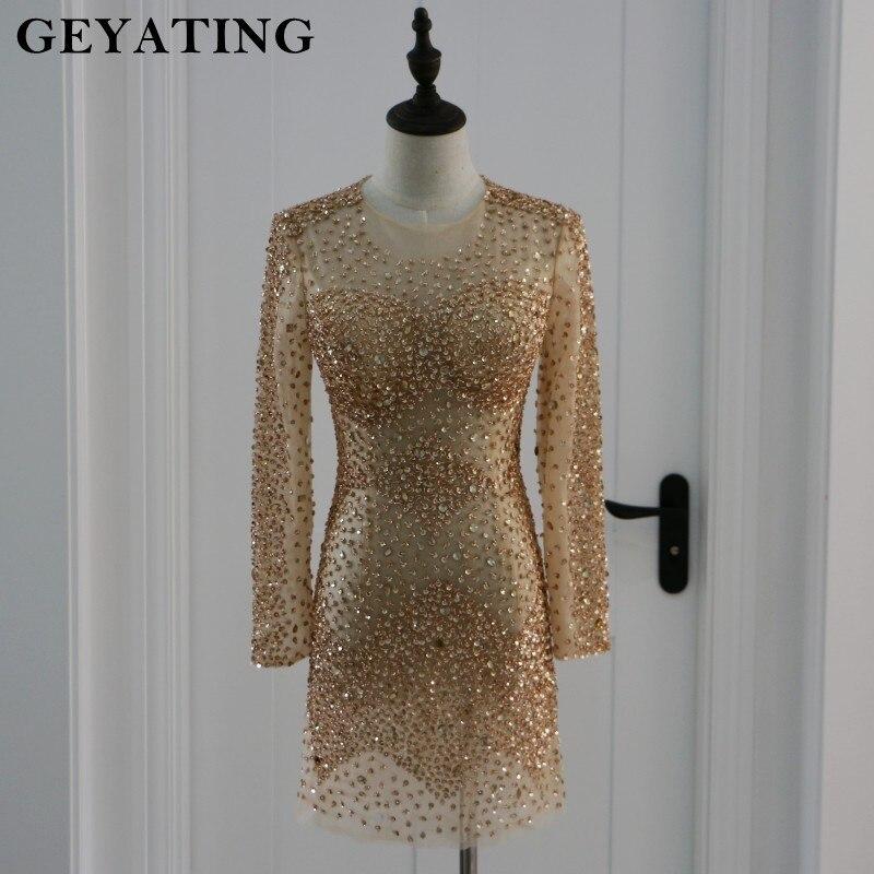 Vàng Pha Lê Prom Dresses 2018 Đính Cườm Dài Tay Áo Prom Dress Vestidos de fiesta Thống Ngắn Đảng Gowns Cocktail Dress