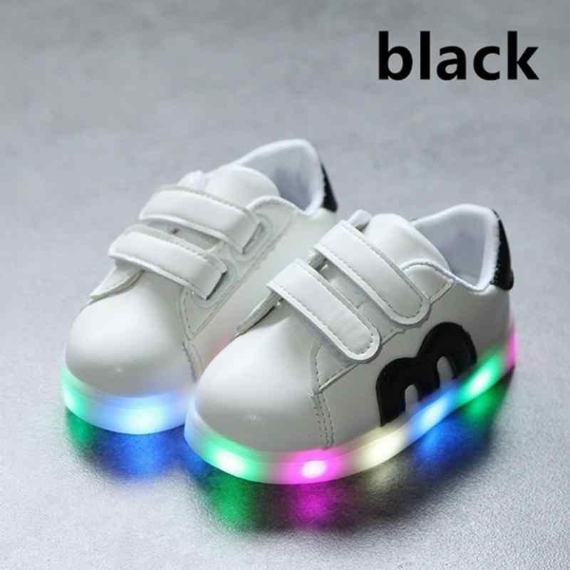 แฟชั่น Led เด็กรองเท้าผ้าใบเด็กชาร์จ USB ส่องสว่างเด็ก/หญิงสีสันไฟ LED รองเท้าเด็ก 21-30