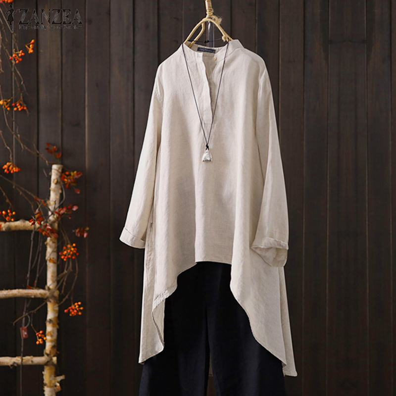 ZANZEA 2019 Fashion Women's Linen Blouse Vintage Long Sleeve Asymmetrical Tops Summer Shirts Button Chemise Casual Tunic Tops