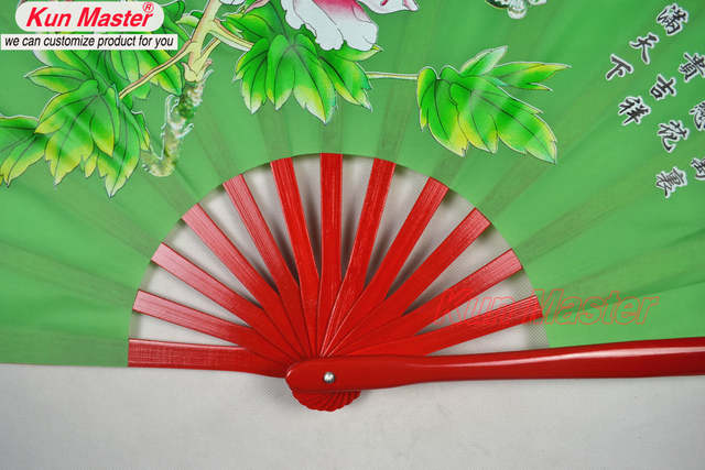 US $15 99 |Bamboo Kung Fu Fighting Fan, Martial Arts Dance/Practice  Performance Fan,Tai Chi Diagram, peony( (green)-in Martial Arts from Sports  &