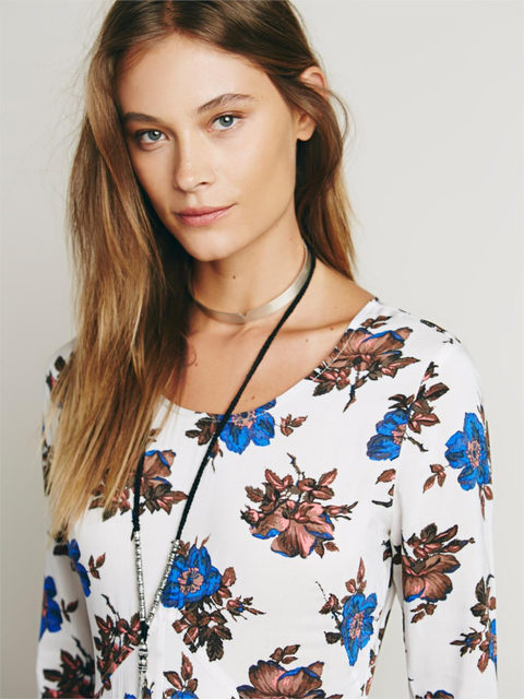 Floral print maxi dress long sleeve