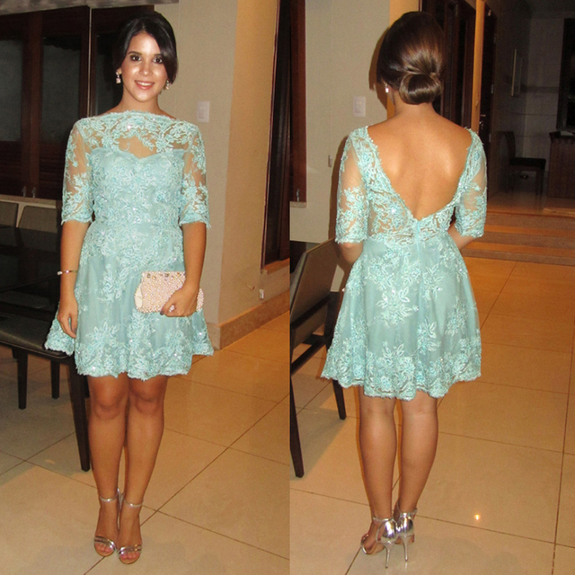 Turquoise Lace Short Cocktail Dress With Sleeves Mini Formal Homecoming Dresses Open Back robe de Cocktail Party Dresses