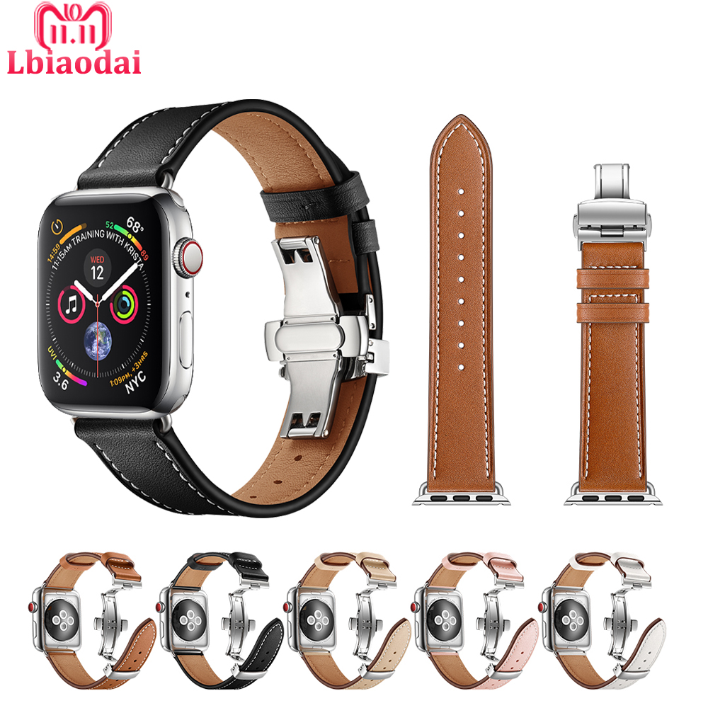 Leather Strap for Apple watch 5 band 44mm 40mm iwatch band 38mm 42mm butterfly clasp bracelet watchband for apple watch 4 3 2 1 | Watchbands