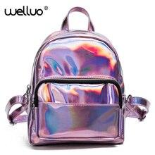 2017 Mochila masculina рюкзак Для женщин Серебро Голограмма лазерная рюкзак Для женщин кожаная сумка голографическая рюкзак многоцветный XA149B