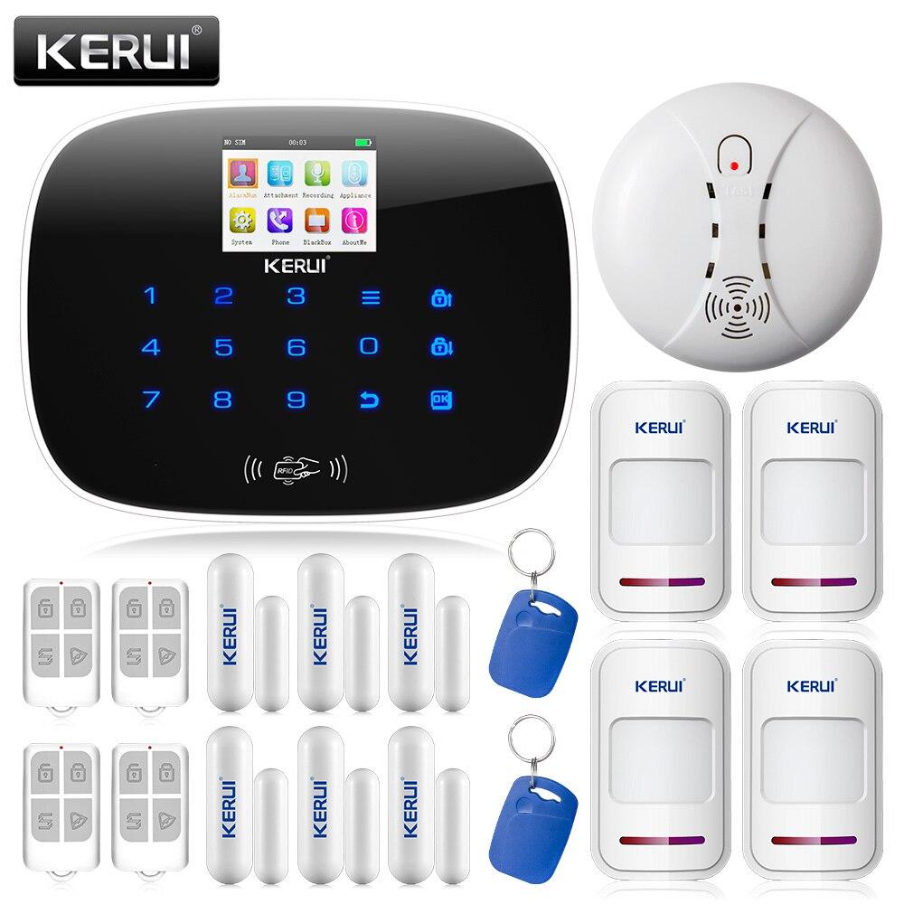 Smoke Detector/ Fire Sensor Alarm+KERUI G19 GSM SMS RFID Voice Home Burglar Alarm System Security