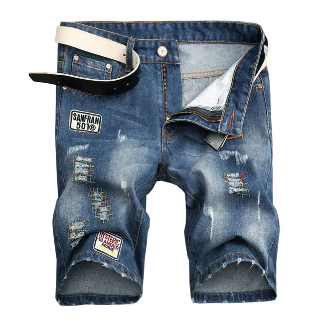 shorts homme High quality jeans short 2017 Summer new men's shorts Casual hole Straight denim shorts bermuda 28/38