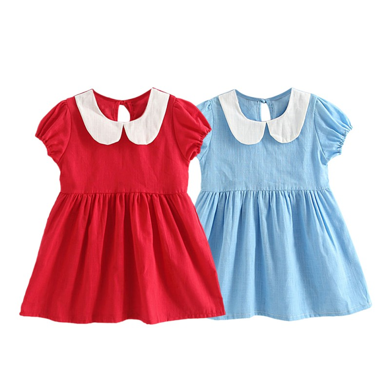 Kids Dresses for Girls 2018 Summer Cotton Girl Doll Collar Dress Clothes Newborn Girl Clothing vestido infantil de bebes