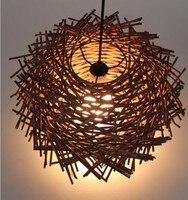 D50CM современные Hand Made Птичье гнездо чистого ротанга деревянная палка подвесной светильник домашнего освещения первоначальный цвет/кофе