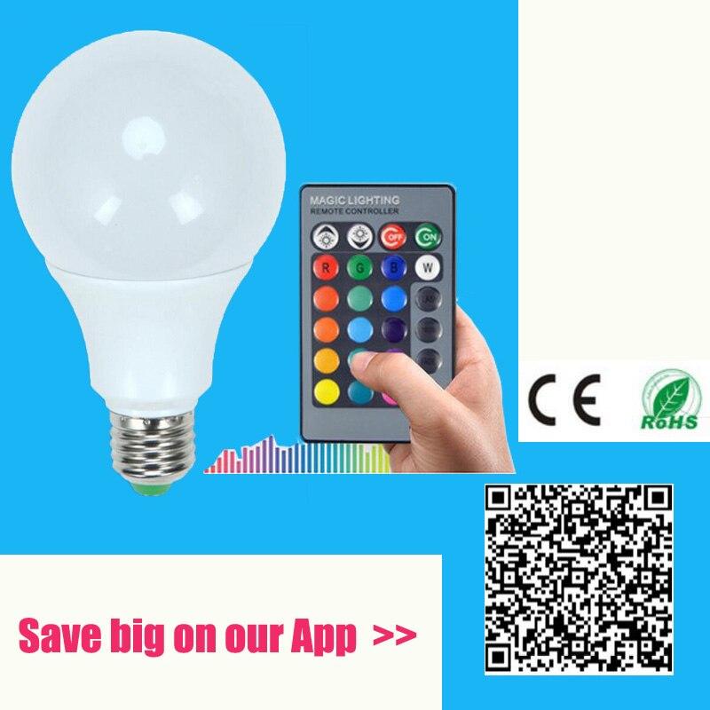 E27 LED RGB spuldzes spuldze AC110V 220V 3W 7W 10W LED RGB Spot gaismas mirgojoša burvība Holiday RGB apgaismojums + IR tālvadības pults 16 krāsas